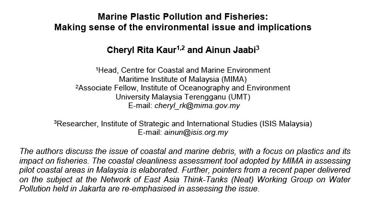 Marine Plastic Pollution and Fisheries: Making sense of the environmental issue and implications