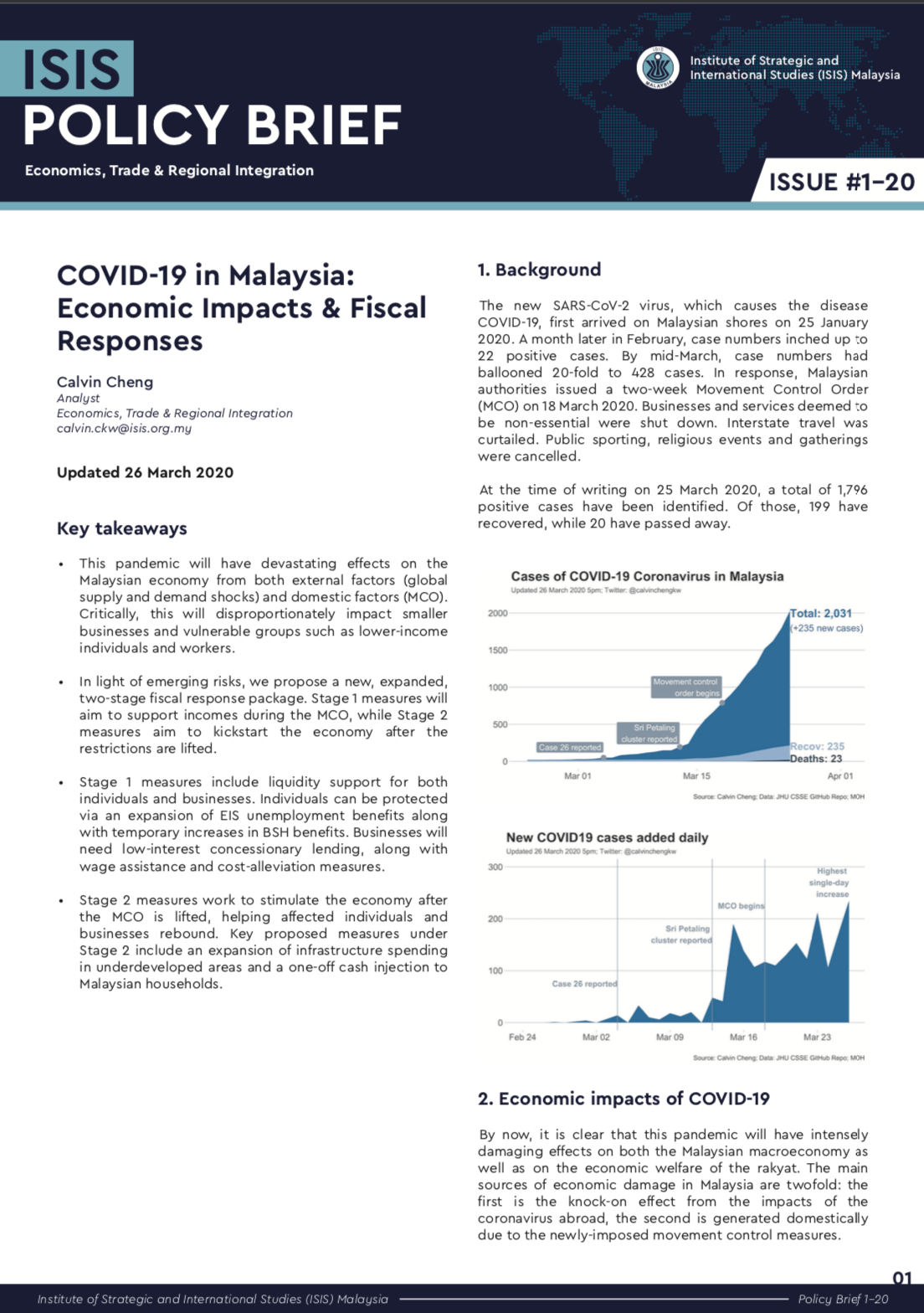 Covid 19 In Malaysia Economic Impacts Fiscal Responses Isis